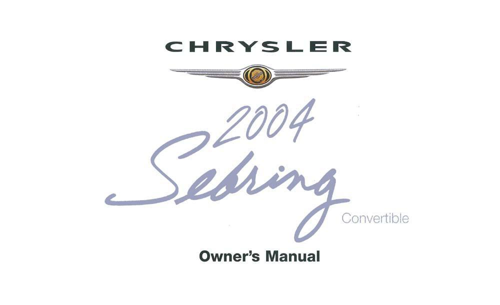 OEM Maintenance Owner's Manual Bound Chrysler Sebring