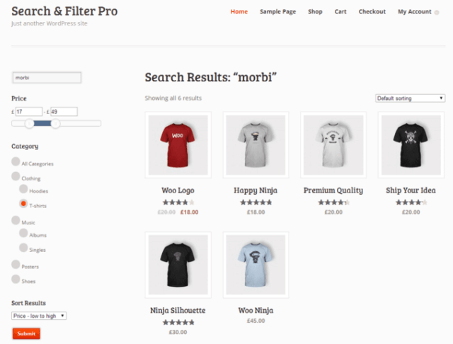 Search and Filter Pro used on an ecommerce site