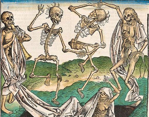 Uno de los grabados de la Danza macabra de Hans Holbein el Joven, 1538. La temática está influida por las epidemias de peste de la Edad Media