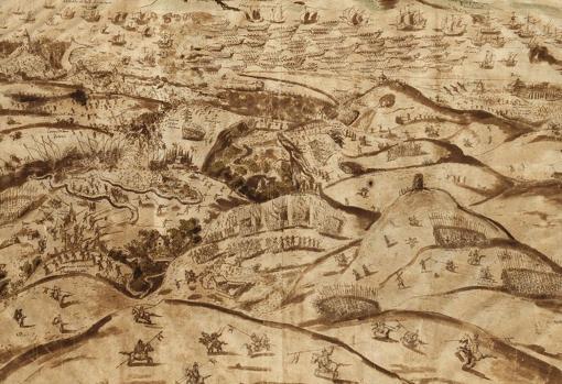 Grabado de la batalla de Alcántara, 1580.