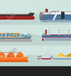 set of cargo ships s flat design ferry container freighter bulk gas carriers tugboat ships illustrations transatlantic carriage by merchant navy  [ 1500 x 930 Pixel ]