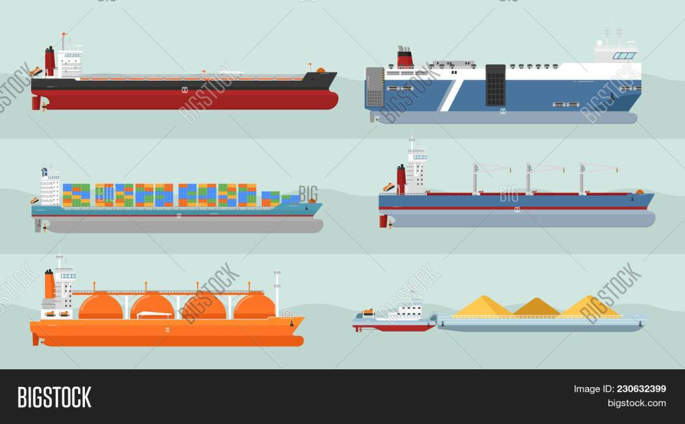 medium resolution of set of cargo ships s flat design ferry container freighter bulk gas carriers tugboat ships illustrations transatlantic carriage by merchant navy
