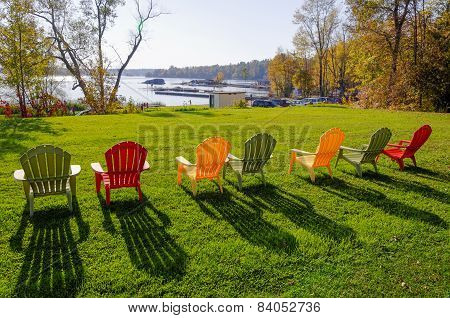 folding lawn chairs ontario tall office image photo free trial bigstock row of on a green grass background in summer time canada