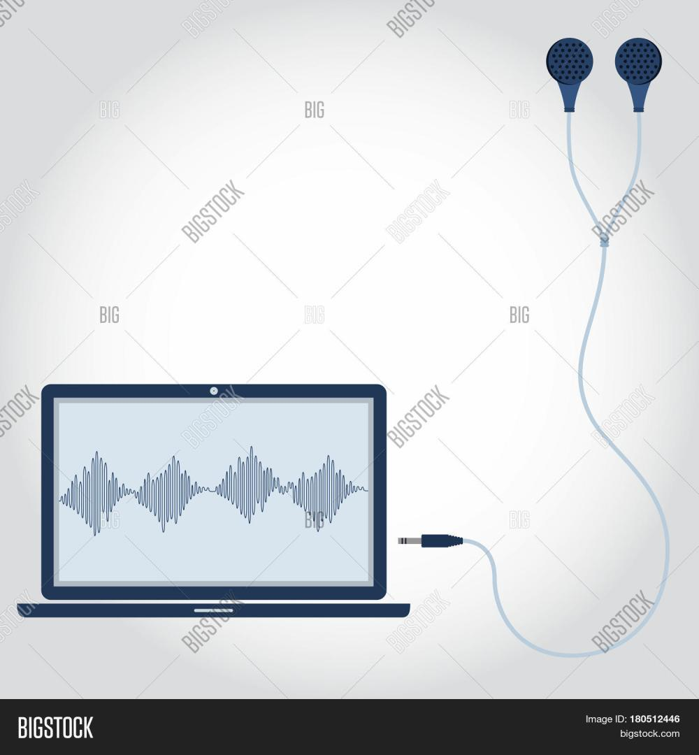 medium resolution of laptop and cable with earphone unplugged sound wave symbol showing on monitor empty space for insert text flat design