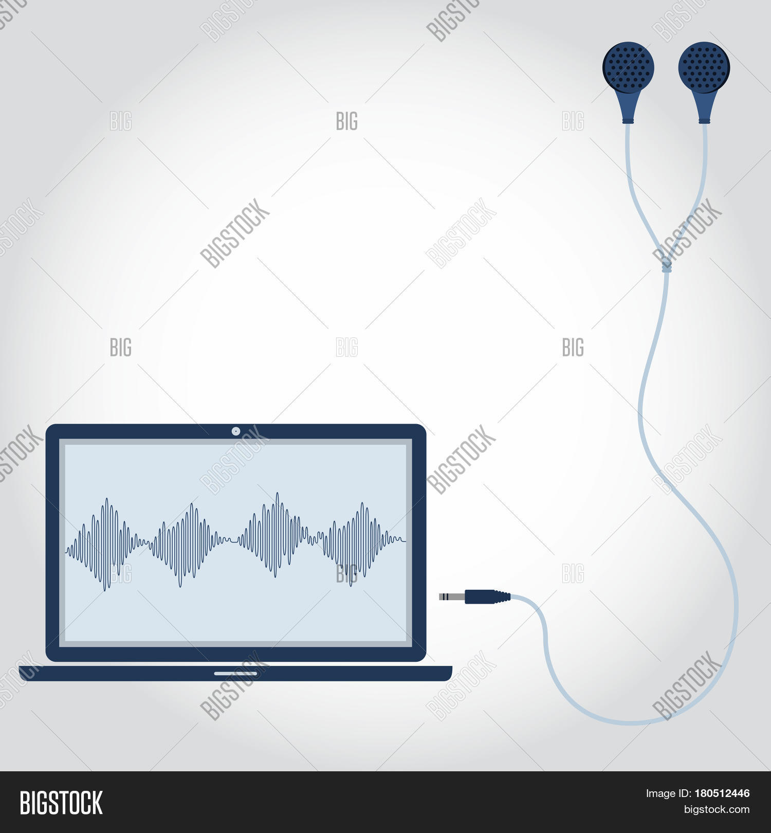 hight resolution of laptop and cable with earphone unplugged sound wave symbol showing on monitor empty space for insert text flat design