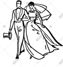 elegant bride and groom retro clipart illustration [ 1200 x 1620 Pixel ]