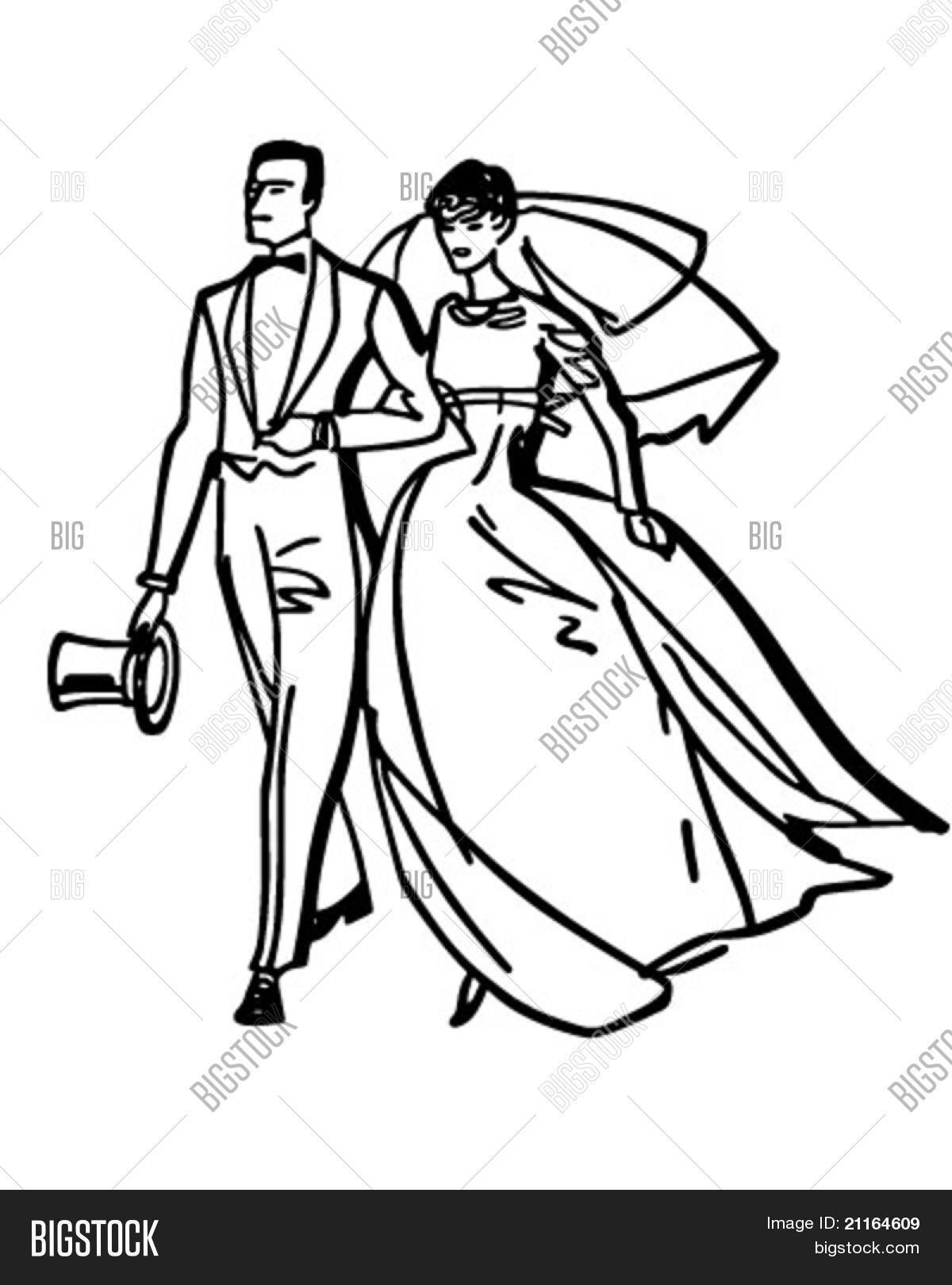 hight resolution of elegant bride and groom retro clipart illustration