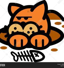 cat clip art digging for fish bones [ 1500 x 1395 Pixel ]