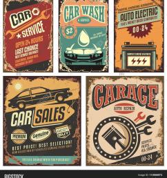 vintage car service metal signs and posters vector  [ 1424 x 1620 Pixel ]