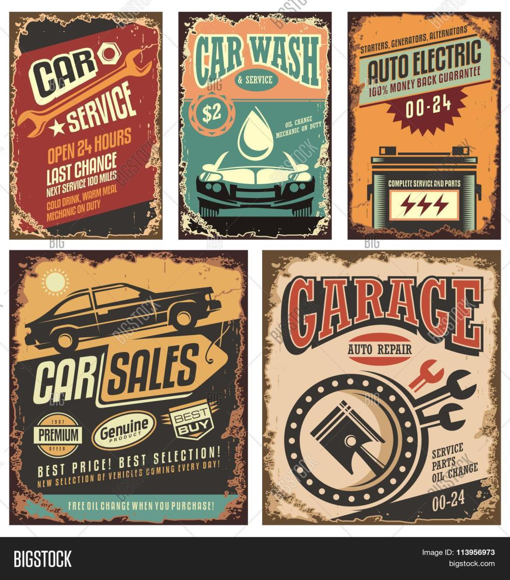 medium resolution of vintage car service metal signs and posters vector