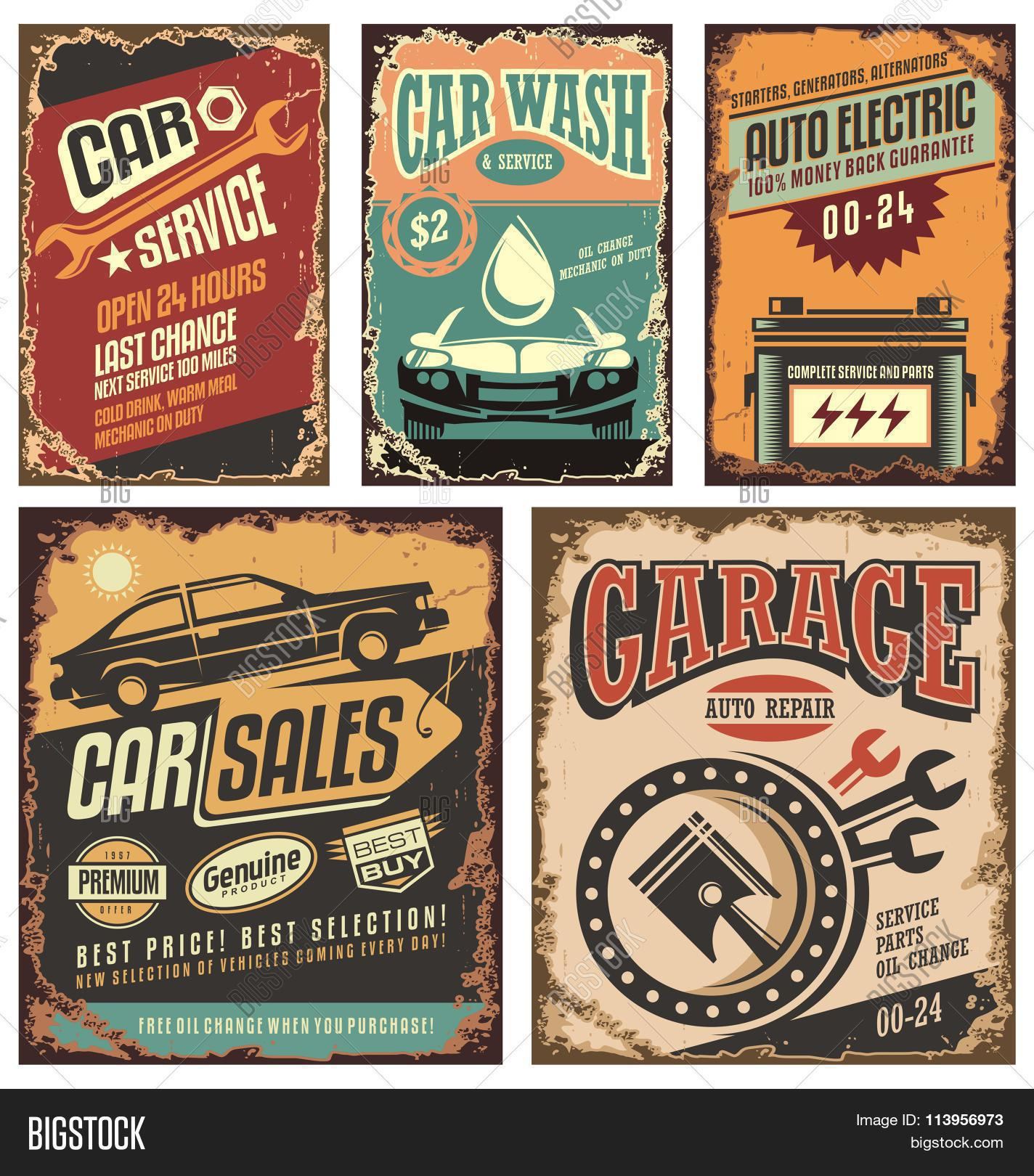 hight resolution of vintage car service metal signs and posters vector