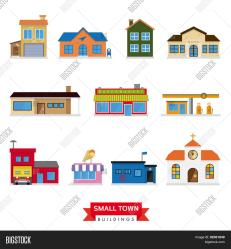 town buildings flat vector towns
