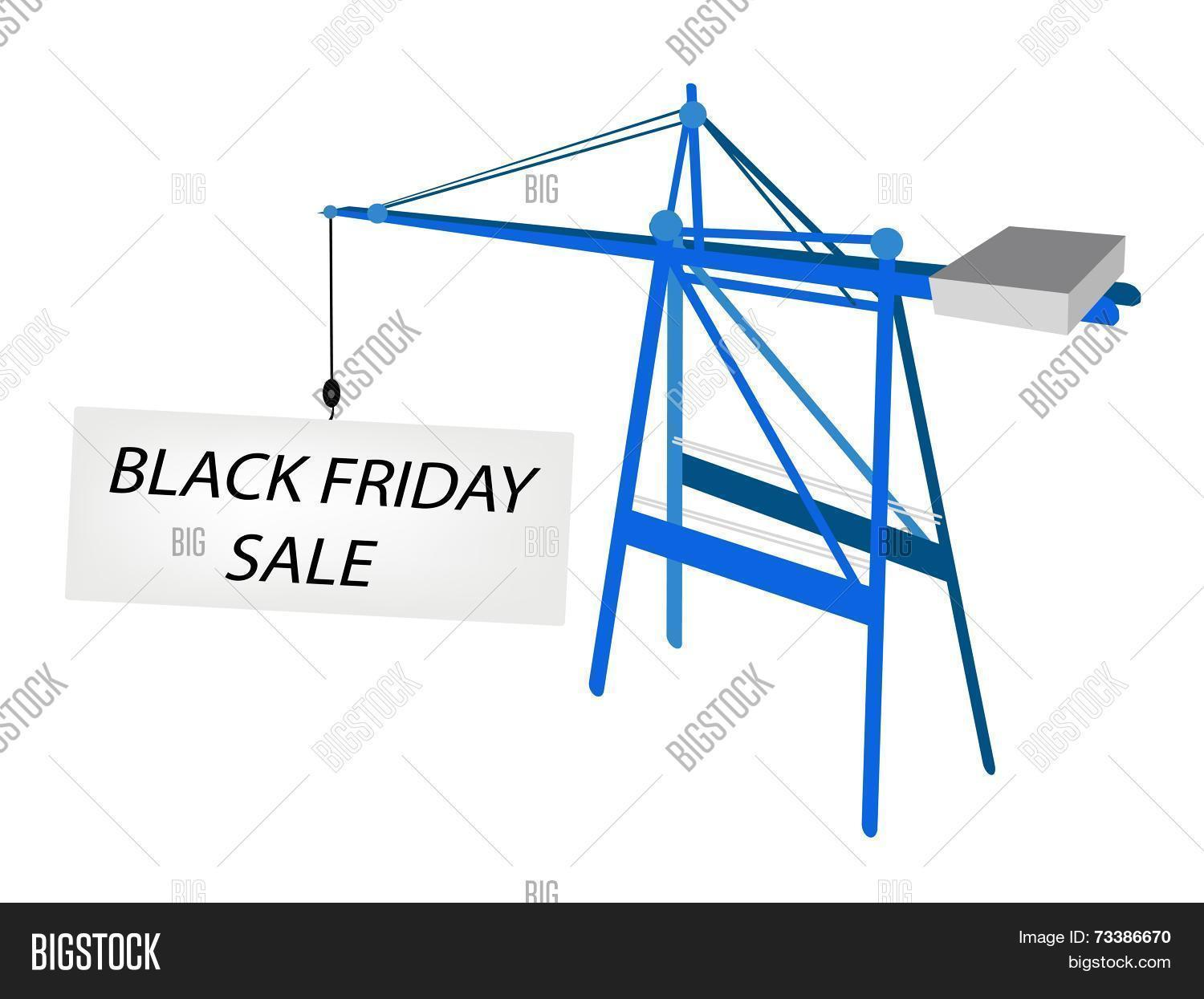 hight resolution of a container crane with black friday billboard for start christmas shopping season and biggest discount promotion in a year