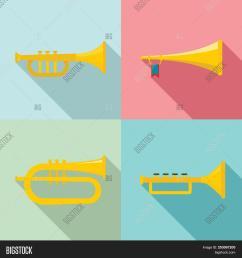 trumpet horn musical instrument icons set flat illustration of 4 trumpet horn musical instrument ic [ 1500 x 1620 Pixel ]