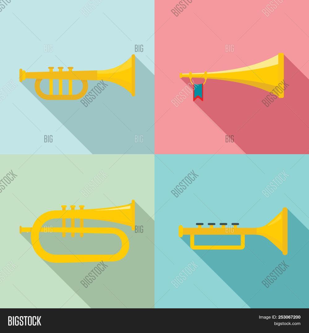 medium resolution of trumpet horn musical instrument icons set flat illustration of 4 trumpet horn musical instrument ic
