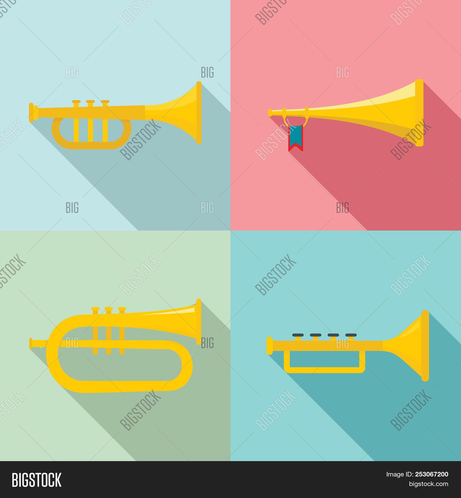 hight resolution of trumpet horn musical instrument icons set flat illustration of 4 trumpet horn musical instrument ic