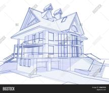 3d Blueprint House Vector & Bigstock