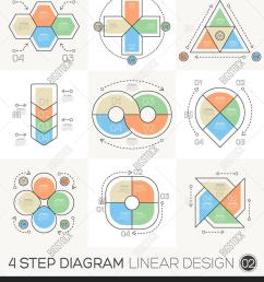 linear line graphic design elements infographic template for cycle diagram graph presentation and round chart business concept with 4 options parts steps  [ 1350 x 1620 Pixel ]