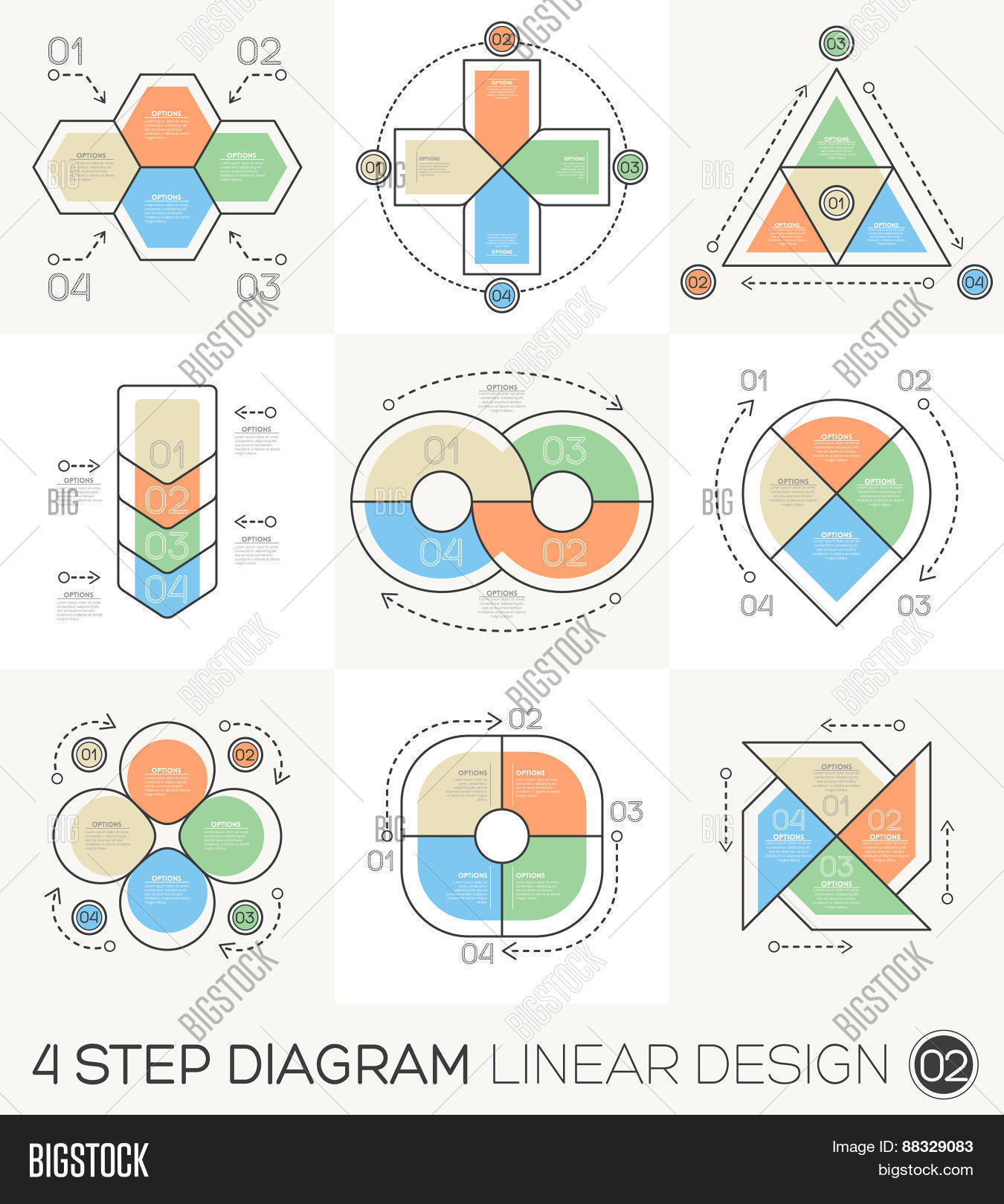 hight resolution of linear line graphic design elements infographic template for cycle diagram graph presentation and round chart business concept with 4 options parts steps
