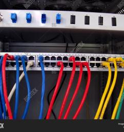 cat5 ethernet cables connecting to a networking patch panel ethernet patch panel server box many diferent colourful cables green blue red yellow white  [ 1500 x 1245 Pixel ]