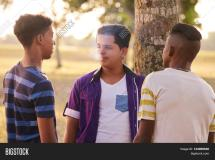 Teens Smoking Cigarettes Friends