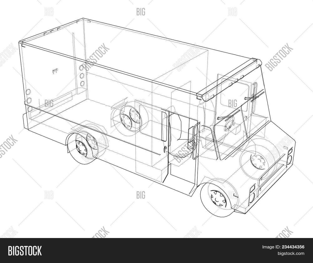 medium resolution of concept delivery car 3d illustration wire frame style