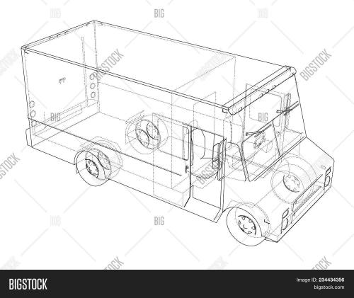 small resolution of concept delivery car 3d illustration wire frame style