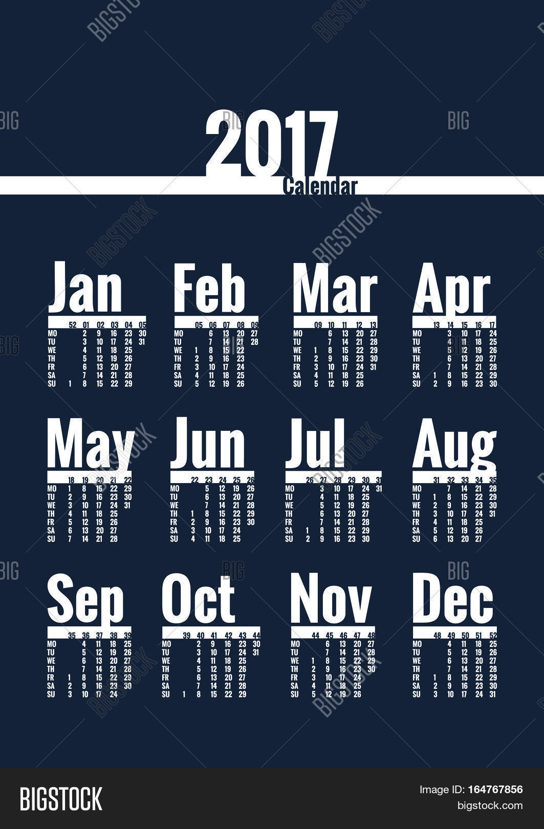 pics 2017 Poster Calendar Template bigstock
