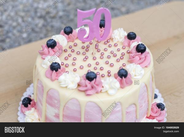Homemade Birthday Cake 50 Year Bigstock