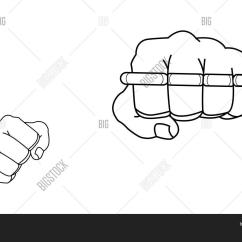 Brass Knuckles Diagram Plant Cell And Animal Clenched Fists Vector Photo Free Trial Bigstock Man Holding Knuckle Punching Contour Lines Illustration Isolated On White