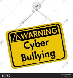 cyber bullying warning sign a yellow warning hanging sign with text cyber bullying isolated over white [ 1500 x 1620 Pixel ]