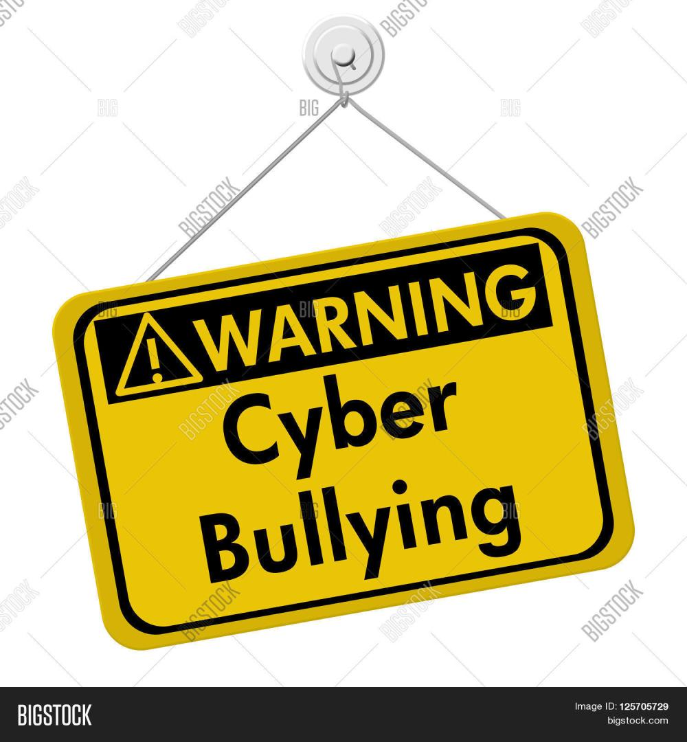 medium resolution of cyber bullying warning sign a yellow warning hanging sign with text cyber bullying isolated over white