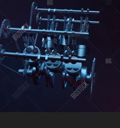 3d illustration of an internal combustion engine engine parts crankshaft pistons fuel [ 1500 x 964 Pixel ]