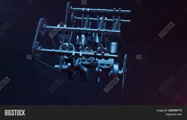 hight resolution of 3d illustration of an internal combustion engine engine parts crankshaft pistons fuel