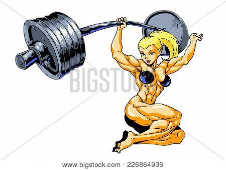 muscle girl barbell vector