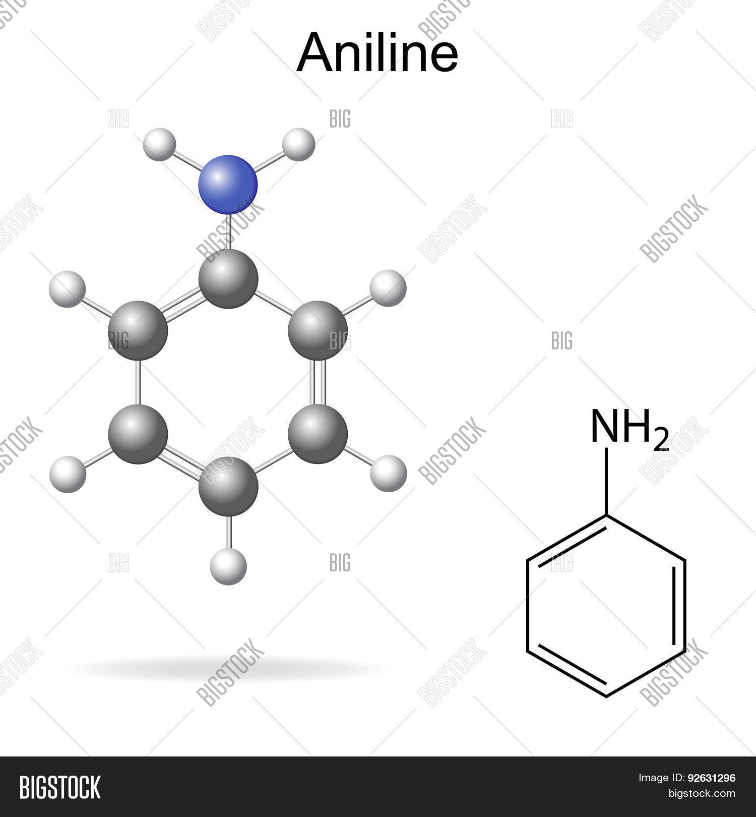 hight resolution of structural chemical formula and model of aniline molecule 2d and 3d illustration isolated vector eps 8