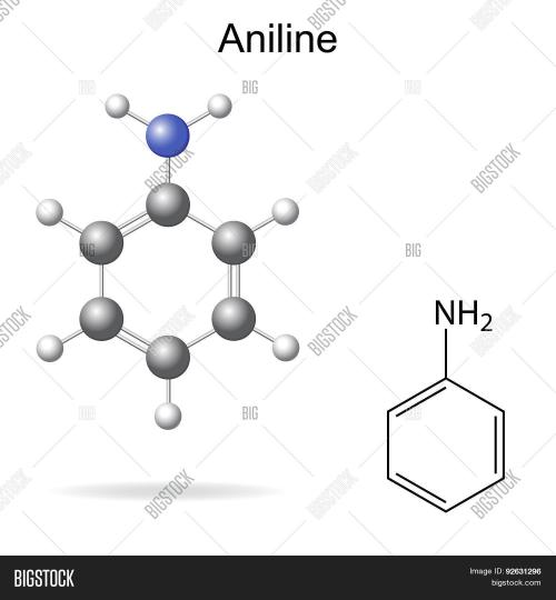 small resolution of structural chemical formula and model of aniline molecule 2d and 3d illustration isolated vector eps 8