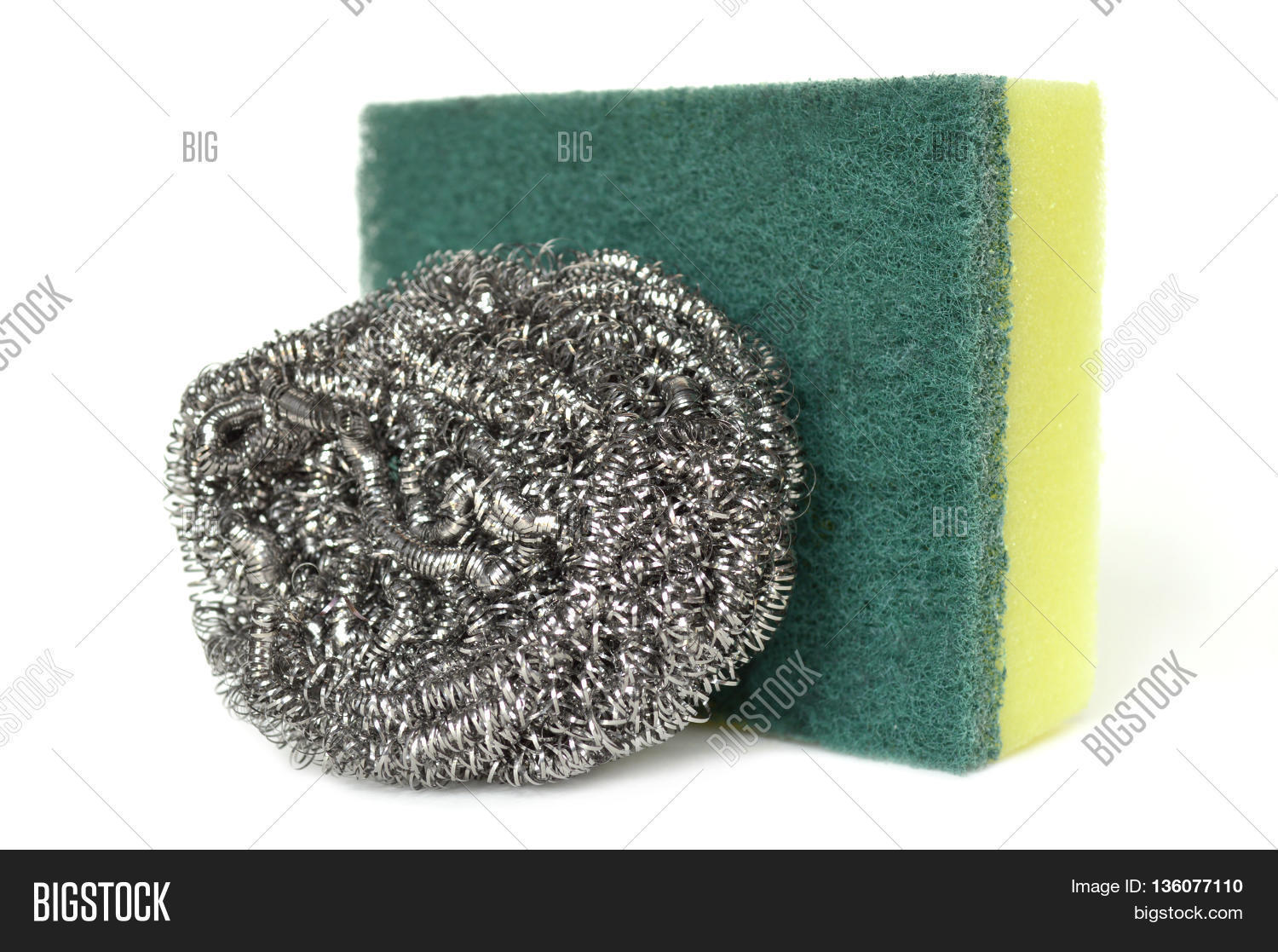 hight resolution of scrub sponge and steel wool on white background
