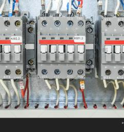 on the artboard mounted three electric contactor with auxiliary contacts the contactors connected wires with [ 1500 x 1120 Pixel ]