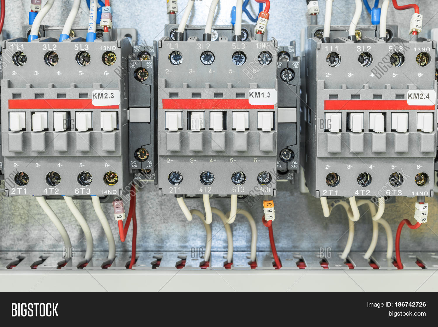 hight resolution of on the artboard mounted three electric contactor with auxiliary contacts the contactors connected wires with