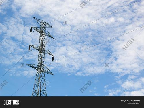 small resolution of high voltage post high voltage tower at blue sky and cloud background power poles and
