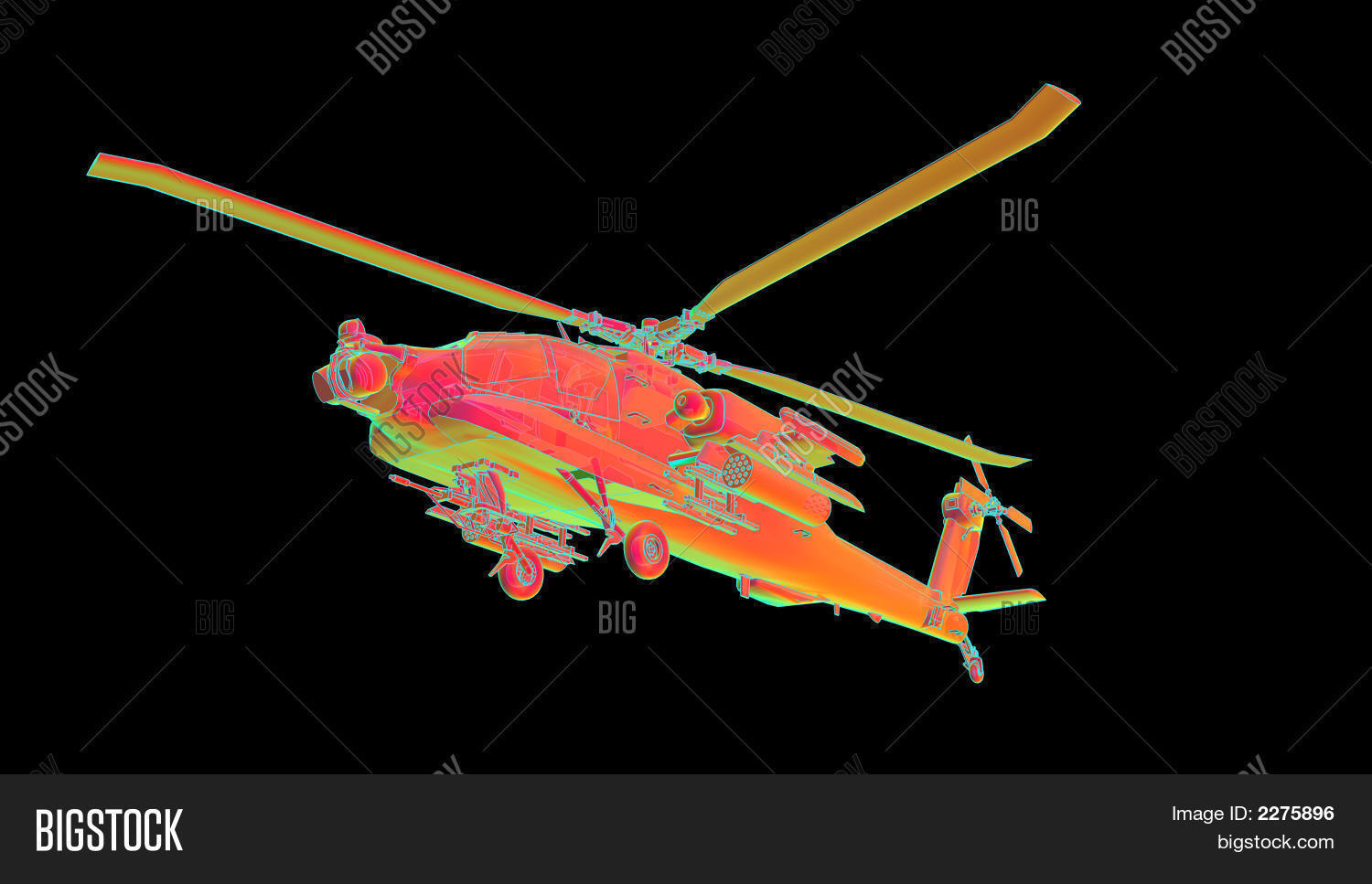 hight resolution of illustration of an apache helicopter with a heat sensitive shader