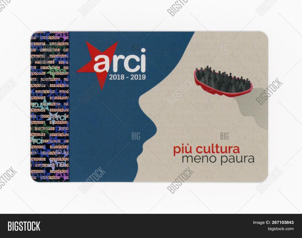 medium resolution of turin italy circa november 2018 arci club card arci is a left