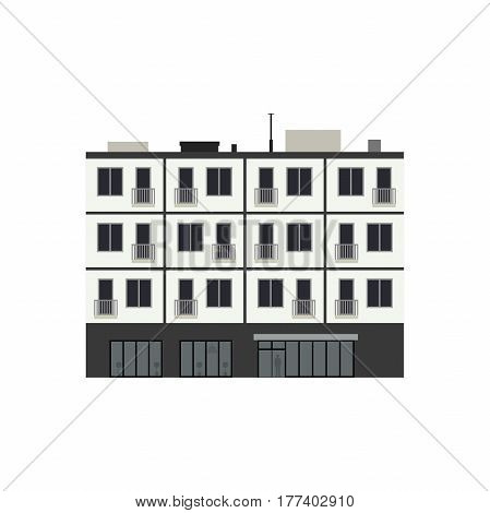 Inium Building In Flat Style Vector Ilration Of Apartment House