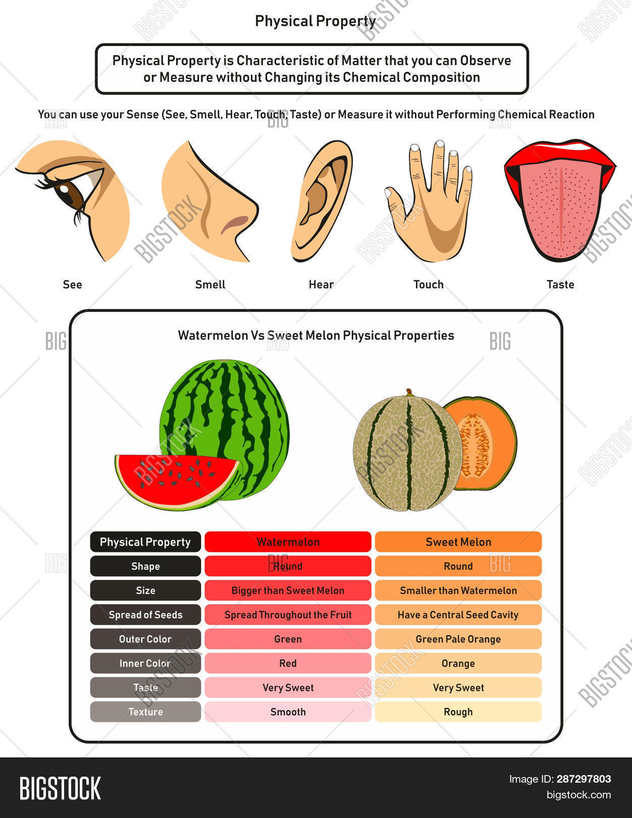 hight resolution of physical property infographic diagram showing using human five senses without changing its chemical composition and comparison