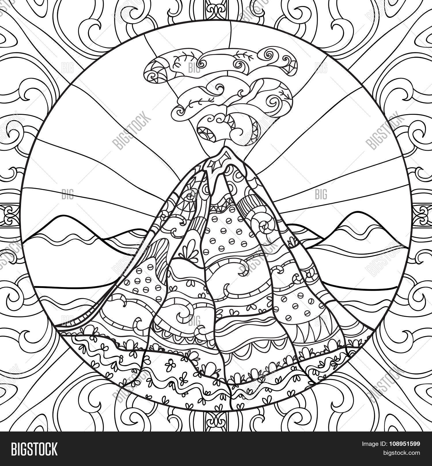 Coloring Page Volcano Vector Amp Photo Free Trial
