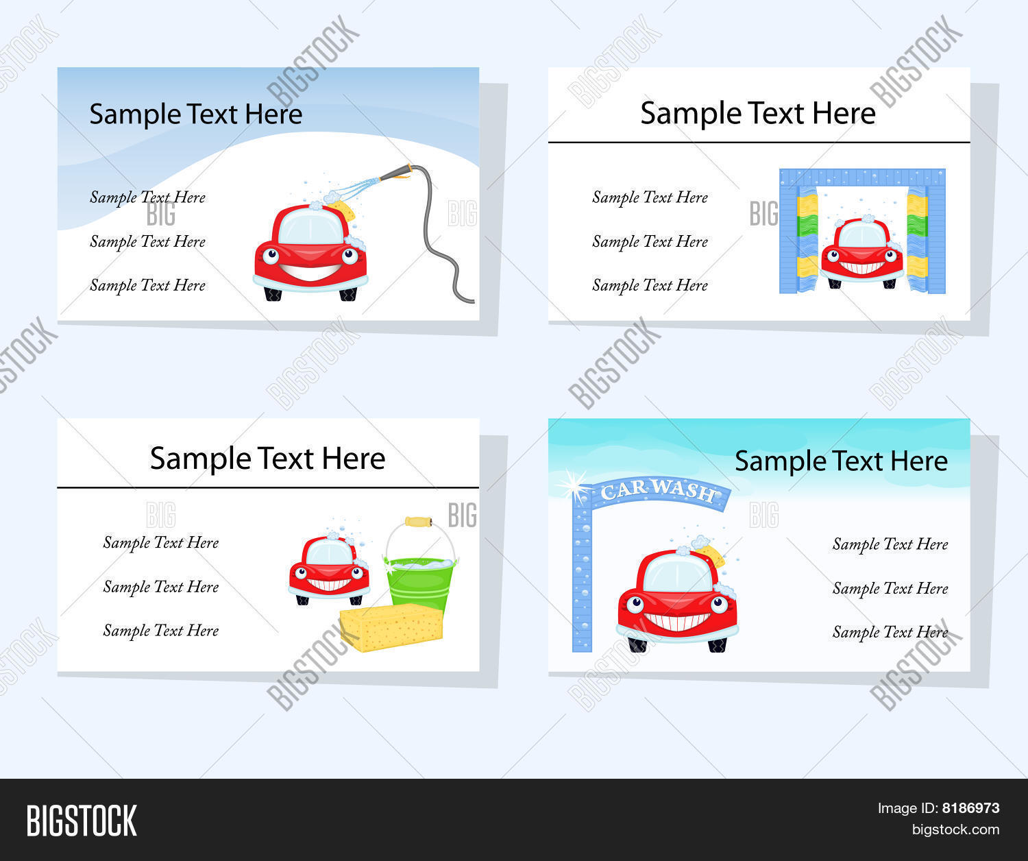 hight resolution of set of four business cards suitable for car washing and cleaning services cmyk colours bleed 1 25 included ready to be printed