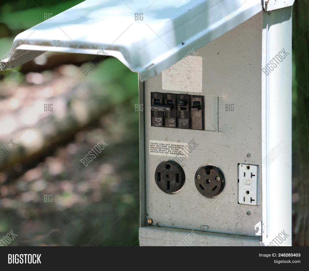 medium resolution of rv camping resort electrical outlet connection with 50 30 and 20 amp