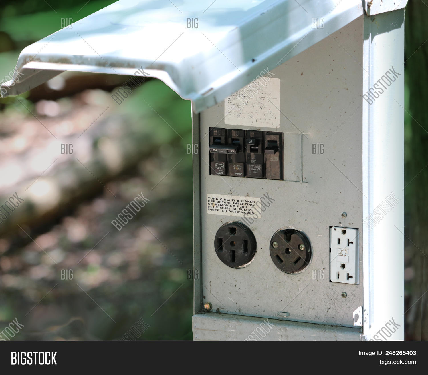 hight resolution of rv camping resort electrical outlet connection with 50 30 and 20 amp
