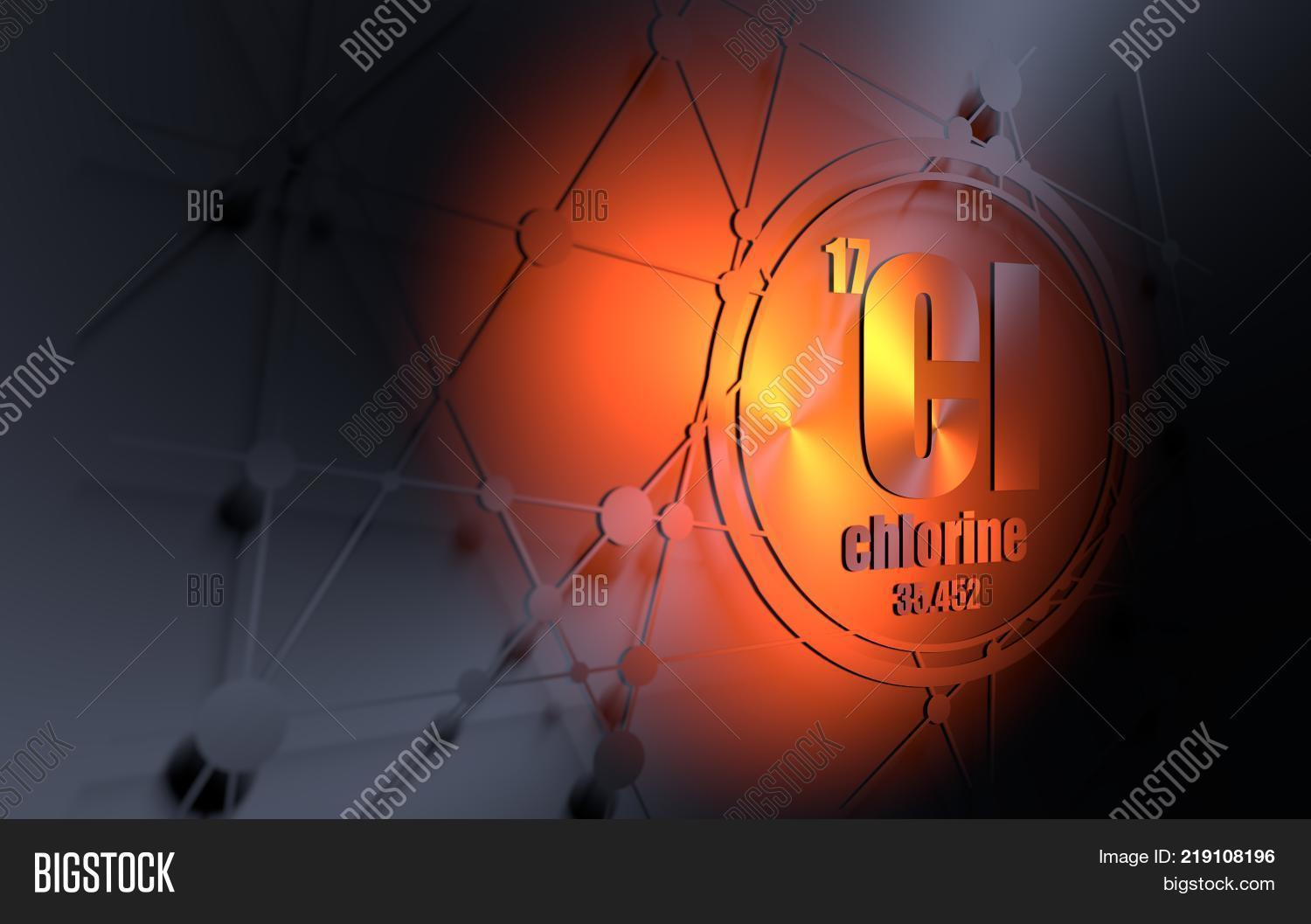 hight resolution of chlorine chemical element sign with atomic number and atomic weight chemical element of periodic